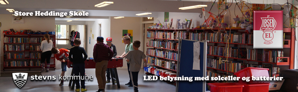 LED Lighting with batteries and solar cells in a school in Stevns muncipality